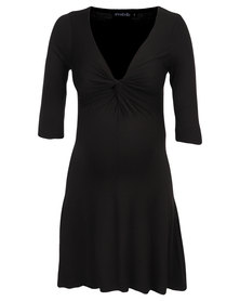 Annabella Maternity Three Quarter Sleeve Gabriella Dress Black