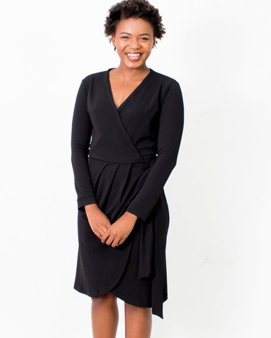 Jatine Chelsea Wrap Dress Black Crepe
