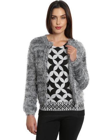 Queenspark Faux Fur Knitwear Cardigan Grey