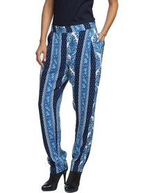 Jatine Capri Pants Blue Stripe Print
