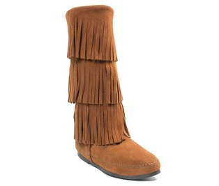Minnetonka Calf Hi 3 Layer Fringe Boots Brown