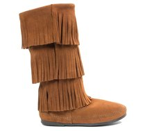 Minnetonka Calf Hi 3 Layer Fringe Boots Brown