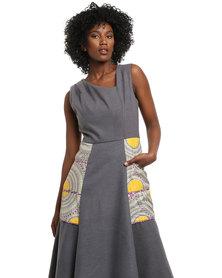 Rubicon Printed Dress Grey