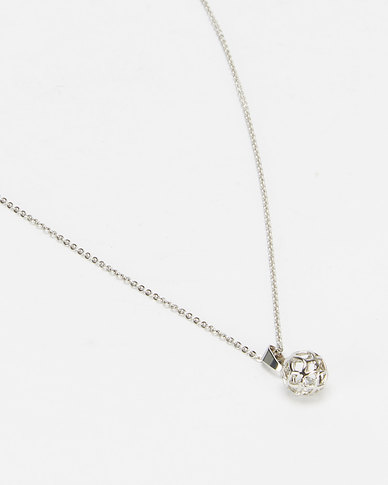 Lily & Rose Scrolling Sphere Pendant Necklace Silver-tone