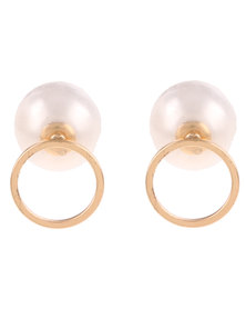 De Stijl Cut Out Circle Front and Back Earrings White