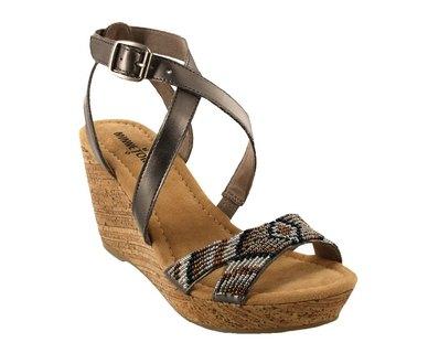 Minnetonka Zoey Wedge Sandals Pewter