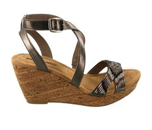 Minnetonka Zoey Wedge Sandals Pewter