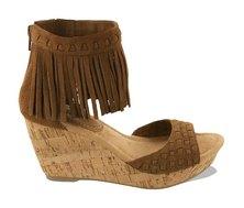 Minnetonka Isabel Fringe Wedge Sandals Dusty Brown
