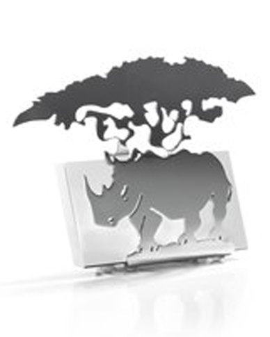 WWF Carrol Boyes Rhino Business Card Holder Stainless Steel Silver