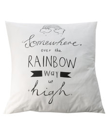 Knus Rainbow Print Cushion White