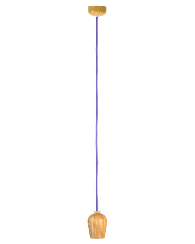 Illumina wooden colour cord pendant without bulb purple