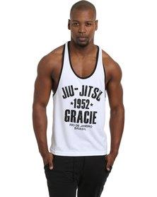 IMYG Gymwear Jiu Jitsu Gracie Singlet Vest White