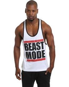 IMYG Gymwear Beast Mode Singlet Vest White