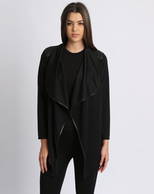 Assuili Long Cardigan With Zip Black