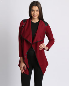 Assuili Long Cardigan With Zip Red