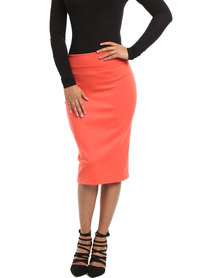 Utopia Basic Pencil Skirt Coral