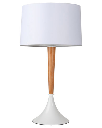 Illumina mike wood lamp base with shade white