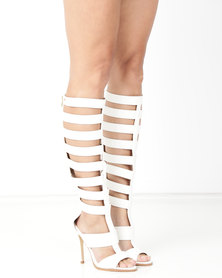 Miss Black Skip Heeled Gladiator White