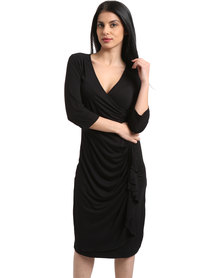 Utopia Ruffle Dress with 3/4 Sleeve Black