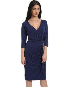 Utopia Ruffle Dress with 3/4 Sleeve Navy