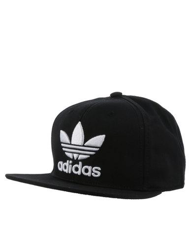 adidas Trefoil Flat Cap Black White  893b1ae419d5