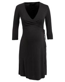 Annabella Maternity Wrap Dress Black