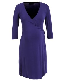Annabella Maternity Angelina Wrap Dress Blue