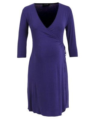 Annabella Maternity Angelina Wrap Dress Blue