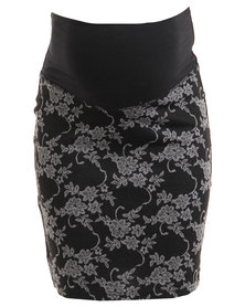 Annabella Maternity Jacquard Pencil Skirt Black