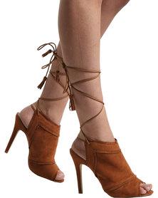 ZOOM Patricia Ankle Tie Heel Chestnut