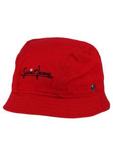 Soviet Twill Bucket Hat With Pocket Zip Feature PU Trim Red