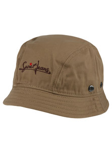 Soviet Twill Bucket Hat With Pocket Zip Feature PU Trim Khaki