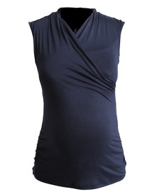 Me-A-Mama Coco Wrap Top Sleeveless Navy