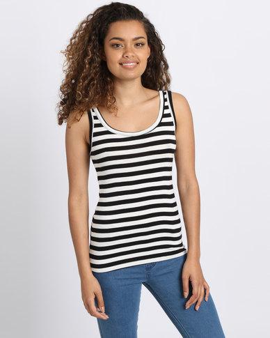 Utopia Stripe Basic Vest Black/White