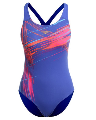 06e27c438f Speedo Performance Vibe Dive Placement Powerback Swimsuit Blue
