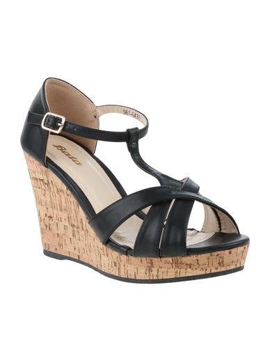 ac16aa27f850 Bata High Heeled Peep Toe Wedge Black