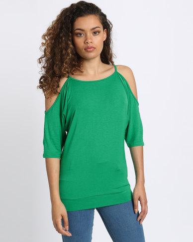 921da97f611f N'Joy Open Shoulder Top Green   Zando