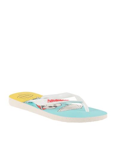 2adf4c3e8 Havaianas Snoopy Flip Flops White
