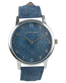 Digitime Logo Denim Watch Blue