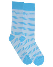 Robert Daniel Stripe Socks Blue