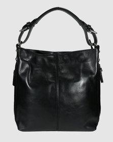 Icon Leather Hobo Handbag Side Zip Black