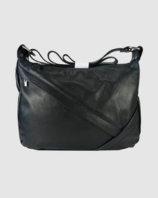 Icon Leather Oblique Zip Shoulder Bag Black