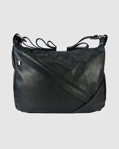 Icon Leather Oblique Zip Shoulder Bag Black