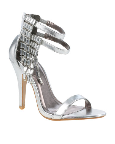 27cf470a155 PLUM Zara Embellished High Heel With Ankle Strap Silver