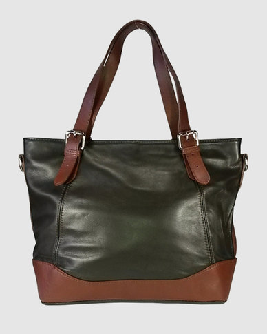 Icon Leather Tote handbag Belt Strap Handles - Dark Brown  9ce005b311a5