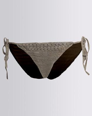 4a7a73d9581542 All About Eve Boho Tie Side Bikini Bottom Khaki