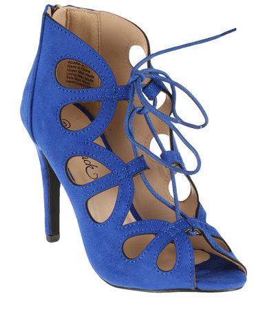 0a3e48331a28 Miss Black Adara Lace Up Cut Out High Heel Cobalt Blue