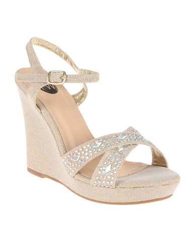 6cae00ed29a9 Footwork Reno High Heeled Embellished Wedge With Ankle Strap Gold ...