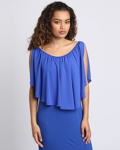Utopia Bodycon With Chiffon Ruffle Cobalt
