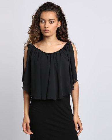 Utopia Bodycon With Chiffon Ruffle Black